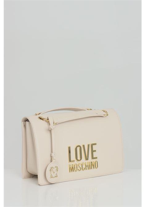 Borsa donna panna love moschino con tracolla e maxi logo frontale in oro. Chiusura con doppio magnete LOVE MOSCHINO   Borse   JC4099PP1C-LJ010A