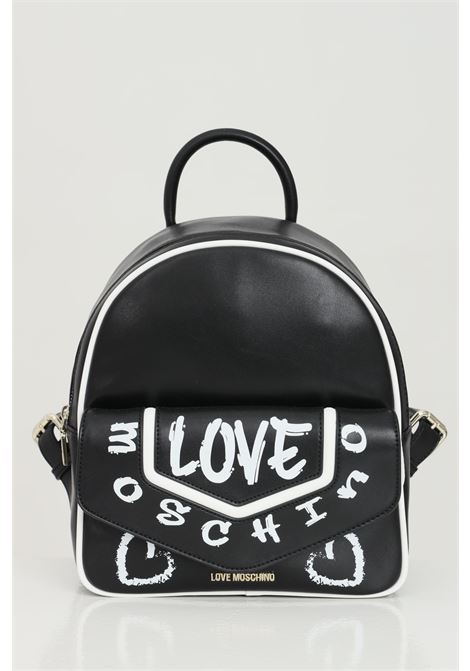 Black backpack in eco-leather with plaster print. Closure with zip and magnet. Love moschino LOVE MOSCHINO | Backpack | JC4222PP0C-KC100A