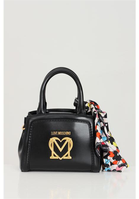 Borsa donna nero love moschino con tracolla logo frontale oro, applicazione foulard LOVE MOSCHINO | Borse | JC4261PP0C-KK0000