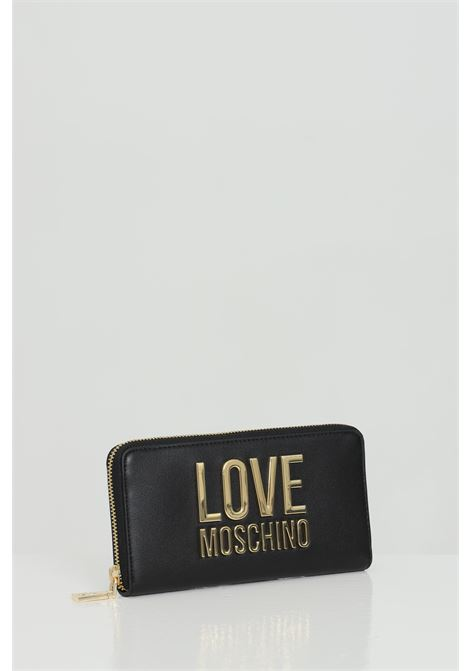 Wallet with light gold metal logo. Zip closure. LOVE MOSCHINO | Wallet | JC5611PP1C-LJ000A