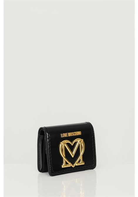 Black wallet with maxi gold steel logo. Click closure. Large compartment for banknotes. Inner compartment for coins. Love moschino LOVE MOSCHINO | Wallet | JC5635PP0C-KK0000