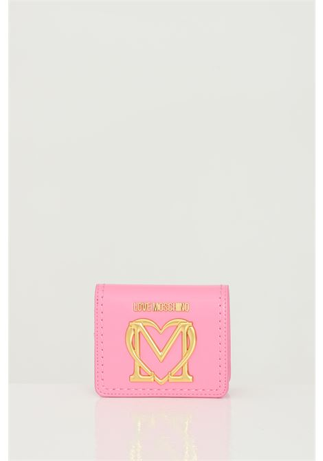 Pink wallet with maxi gold steel logo. Click closure. Large compartment for banknotes. Inner compartment for coins. Love moschino LOVE MOSCHINO | Wallet | JC5635PP0C-KK0600