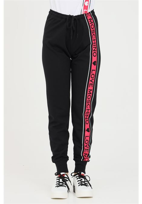 Black casual pants with contrasting logo band. Love moschino LOVE MOSCHINO | Pants | W142421M4282C74