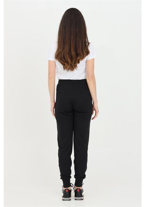 Pantaloni donna nero love moschino casual con banda logata a contrasto LOVE MOSCHINO | Pantaloni | W142421M4282C74
