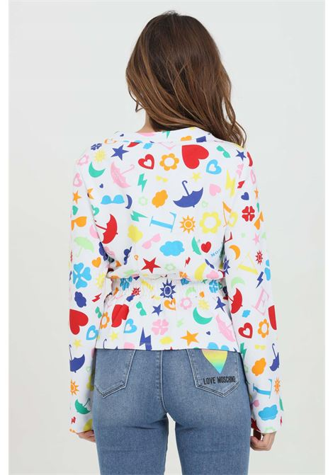 White cardigan with multicolor pattern print. Button closure and long sleeves. Love moschino LOVE MOSCHINO | Cardigan | W340400M42680002