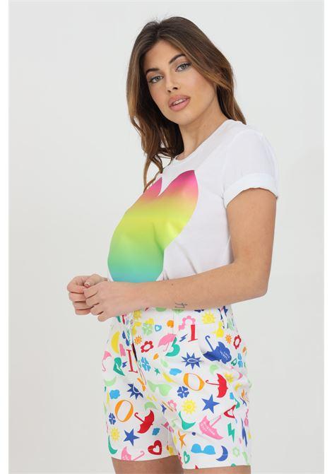 T-shirt donna bianco love moschino a manica corta con maxi logo olografico. Modello comodo LOVE MOSCHINO | T-shirt | W4F152TM3876A00