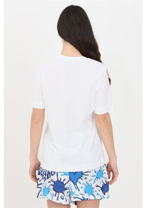 T-shirt donna bianco-celeste love moschino a manica corta con stampa frontale LOVE MOSCHINO | T-shirt | W4F152ZM38764023