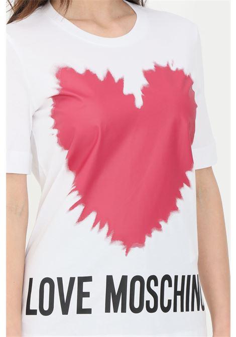 T-shirt donna bianco love moschino a manica corta con stampa cuore LOVE MOSCHINO | T-shirt | W4F153AM3876A00