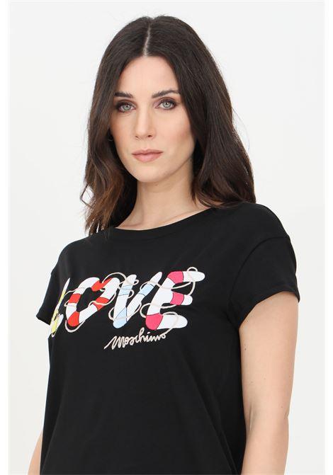 T-shirt donna nero love moschino a manica corta con stampa frontale LOVE MOSCHINO | T-shirt | W4F302IE1951C74