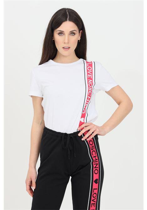 T-shirt donna bianco love moschino a manica corta con banda logata LOVE MOSCHINO | T-shirt | W4F731OM3876A00