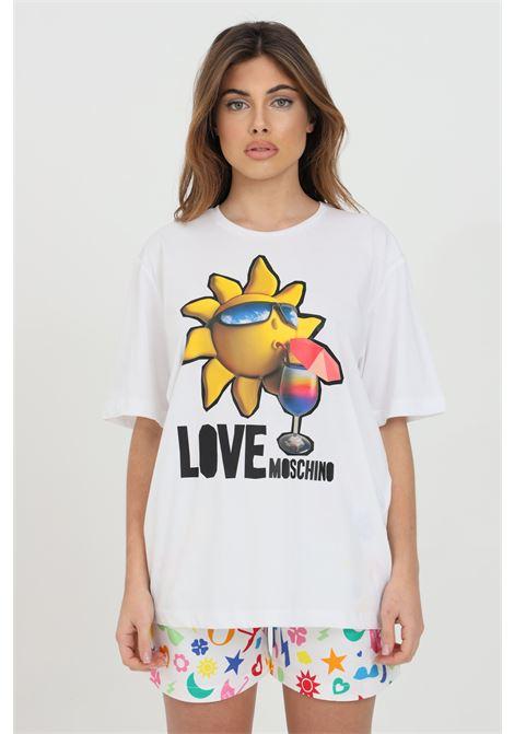 T-shirt donna bianco love moschino a manica corta con maxi stampa frontale. Modello comodo LOVE MOSCHINO | T-shirt | W4F8739M3876A00
