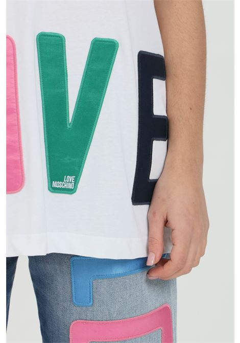White t-shirt with multicolor logo print, short sleeves. Love moschino LOVE MOSCHINO   T-shirt   W4F8783M3876A00