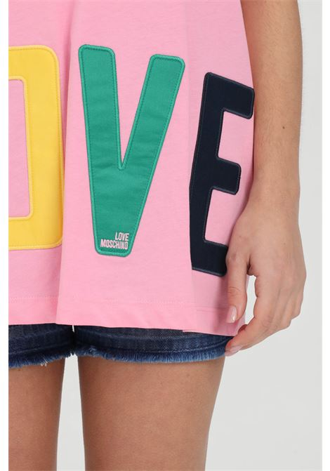 T-shirt con stampa logo multicolor LOVE MOSCHINO | T-shirt | W4F8783M3876N35
