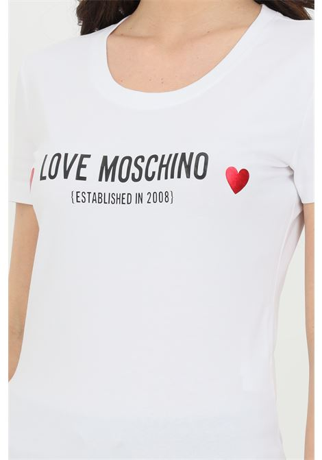 T-shirt donna bianca love moschino a manica corta con logo frontale a contrasto LOVE MOSCHINO | T-shirt | W4H1904E1951A00