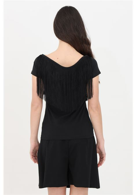 T-shirt donna nero love moschino a manica corta con frange LOVE MOSCHINO | T-shirt | W4H4201E1951C74