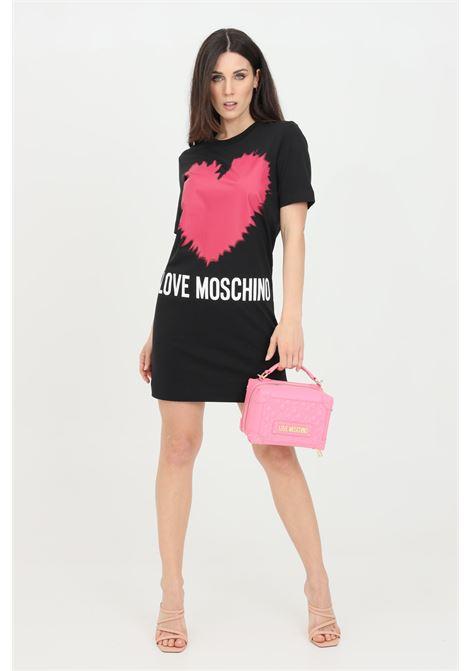 Abito donna nero love moschino corto con maxi stampa cuore LOVE MOSCHINO | Abiti | W5A0221M3876C74
