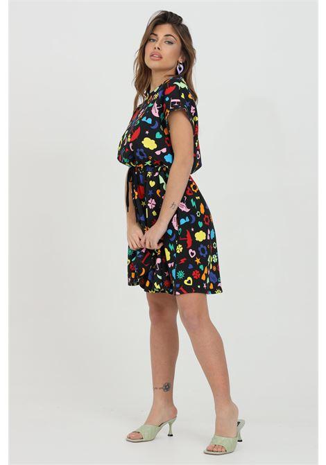 Abito donna multicolor love moschino corto con elastico in vita e stampa pattern. Fondo svasato LOVE MOSCHINO | Abiti | W5C0200M42680003