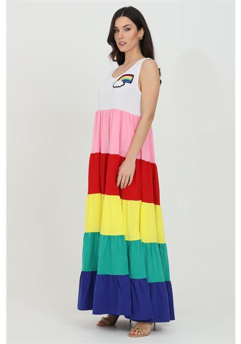 Abito donna multicolor love moschino lungo a balze colorate. Logo ricamato frontale. Modello canotta LOVE MOSCHINO | Abiti | W5C1280M38764004