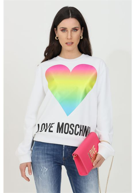 White sweatshirt with holographic logo. Ribbed crew neck, bottom and cuffs. Comfortable model. Love moschino LOVE MOSCHINO | Sweatshirt | W630638M4266A00