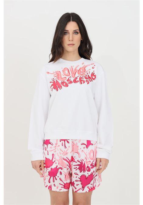Felpa donna bianco love moschino girocollo LOVE MOSCHINO | Felpe | W630642M42824024