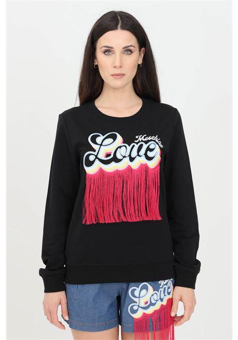 Felpa donna nero love moschino girocollo con frange LOVE MOSCHINO | Felpe | W644401E2246C74