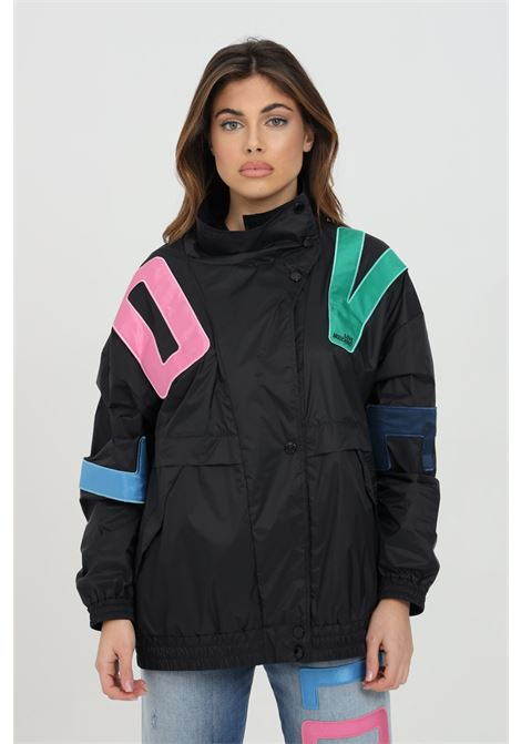 Black wind jacket with multicolor lettering print. Pockets on the front and elastic bottom and cuffs. Love moschino LOVE MOSCHINO | Jacket | WH76181T082AC74