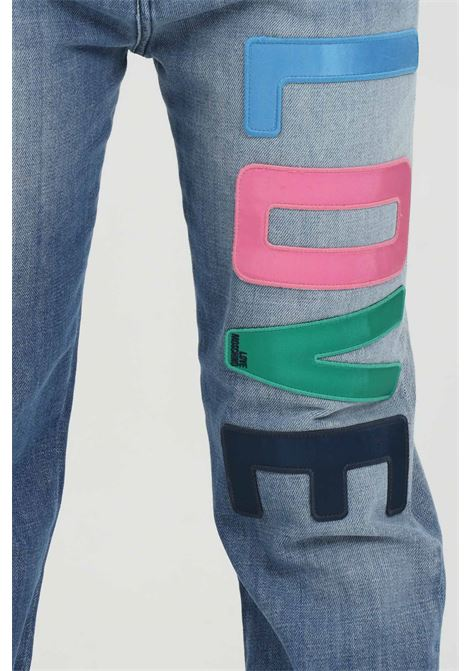Medium-waisted jeans with multicolor logo LOVE MOSCHINO | Jeans | WQ3818ST085A405W