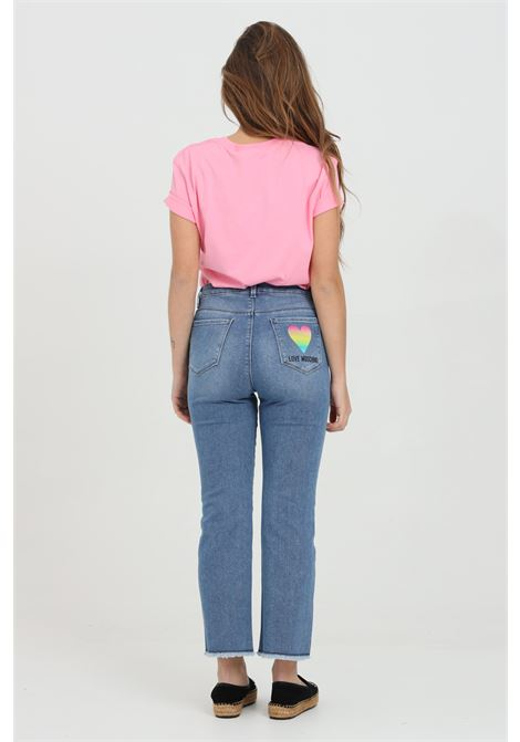 Jeans with logo print on the back, medium waist, front closure with buttons and zip, raw-cut hem. Love moschino LOVE MOSCHINO | Jeans | WQ45602S3500219C