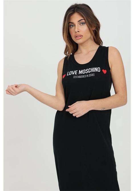Abito donna nero love moschino lungo con stampa logo frontale. Scollo a U. Modello comodo LOVE MOSCHINO | Abiti | WS43R10X1409C74