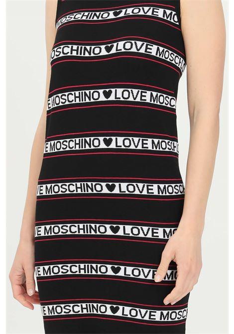 Abito donna nero love moschino midi con bande logate LOVE MOSCHINO | Abiti | WS52R10X1422C74