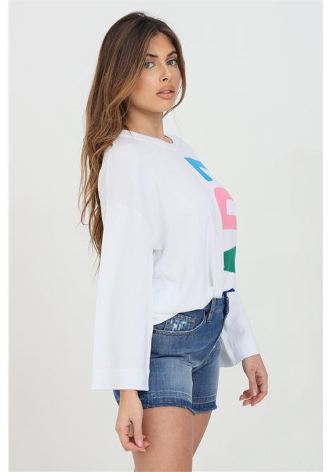 Felpa donna bianco love moschino girocollo con logo multicolor frontale. Manica a fondo ampio. Modello comodo LOVE MOSCHINO | Felpe | WS62G11X0985A00