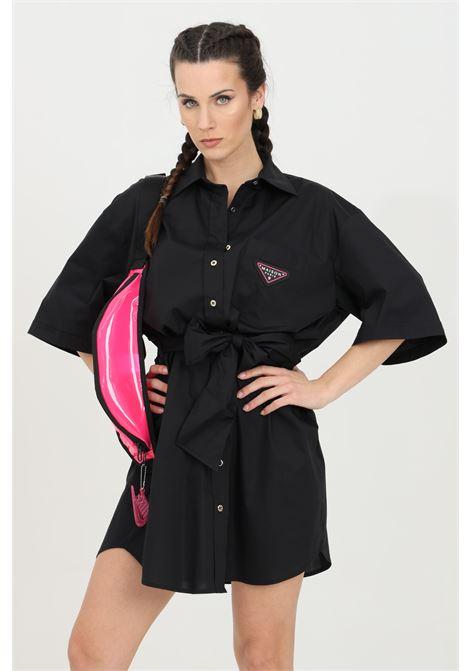 Black dress with belt at the waist, button closure and regular collar. Embroidered logo on the front. Maison 9 paris MAISON 9 PARIS | Dress | M9A7127NERO