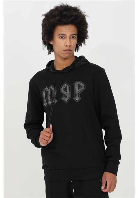 Black hoodie with drawstring and flat studs application. Maison 9 paris  MAISON 9 PARIS | Sweatshirt | M9F2100NERO