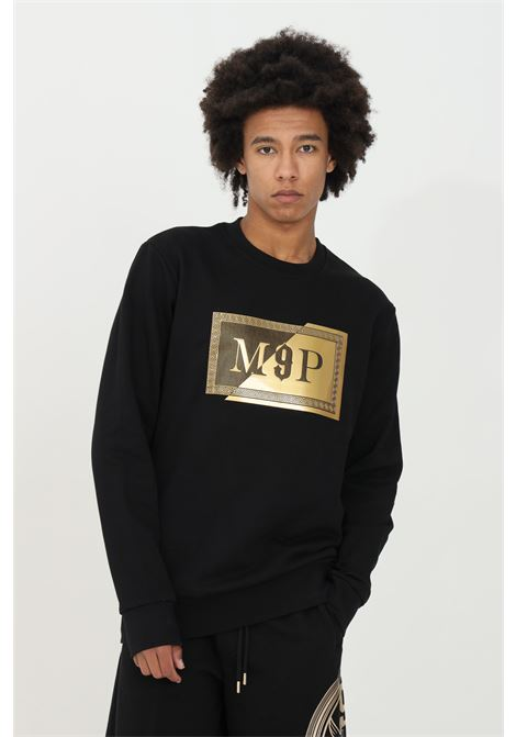 Black crew neck sweatshirt with gold logo patch on the front. Comfortable model. Maison 9 paris  MAISON 9 PARIS | Sweatshirt | M9F2110NERO-ORO