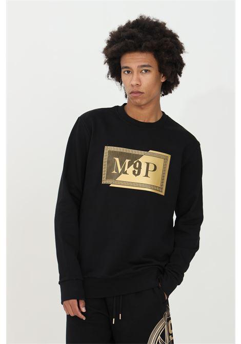 Crew neck sweatshirt with gold patch logo on the front.  MAISON 9 PARIS | Sweatshirt | M9F2110NERO-ORO