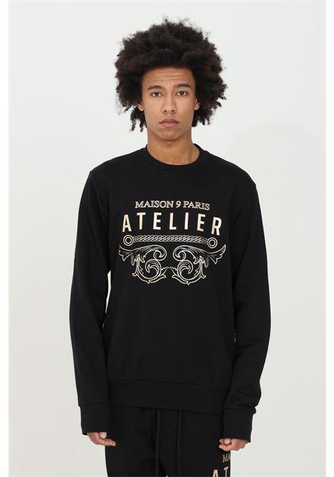 Crew neck sweatshirt with gold print on the front MAISON 9 PARIS | Sweatshirt | M9F2124NERO