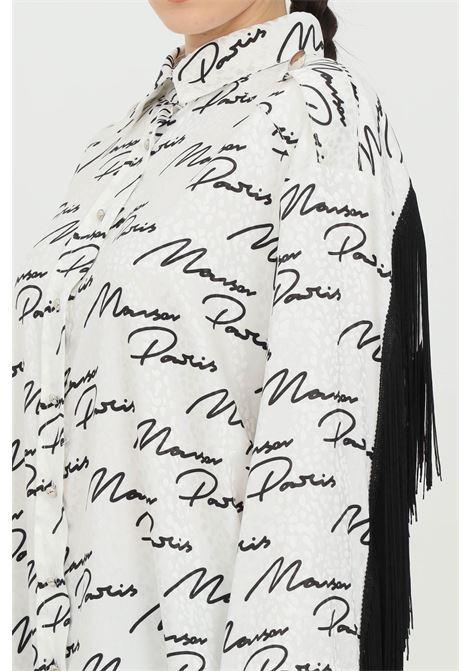 White-black shirt with fringes and lettering pattern, classic closure with buttons. Maison 9 paris MAISON 9 PARIS | Shirt | M9FA7132.