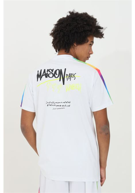 Crew neck T-shirt with silicone applications.  MAISON 9 PARIS | T-shirt | M9M2264BIANCO