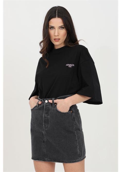 Black t-shirt, asymmetrical model with wide short sleeve. Maison 9 paris MAISON 9 PARIS | T-shirt | M9M4118NERO
