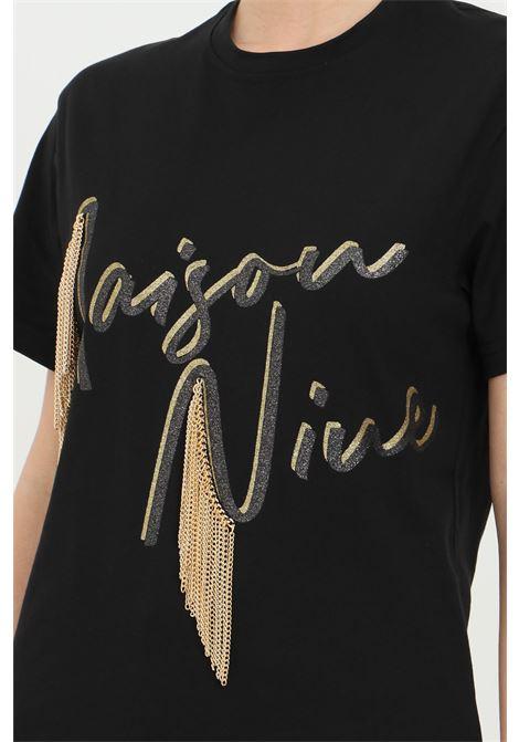T-shirt with metal fringes. MAISON 9 PARIS | T-shirt | M9M4144NERO