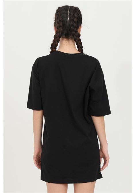 Black dress, front logo with glitter applications. Comfortable model. Maison 9 paris MAISON 9 PARIS | Dress | M9M4159NERO-ORO