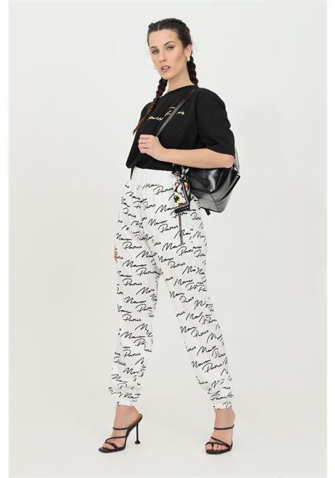 White-black trousers with silver print and logo pattern. Maison 9 paris MAISON 9 PARIS | Pants | M9P655NERO