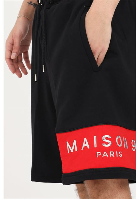 Shorts uomo nero maison 9 paris casual MAISON 9 PARIS | Shorts | M9S5068NERO-ROSSO