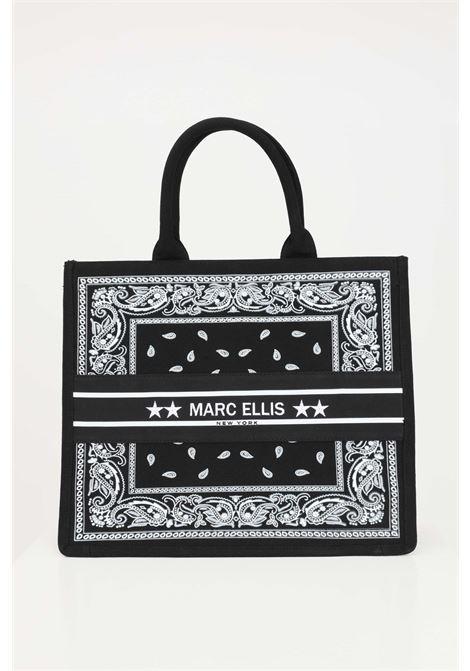 Borsa donna fantasia marc ellis shopper con logo ricamato frontale MARC ELLIS | Borse | BUBY-BANDANANERO/BIANCO