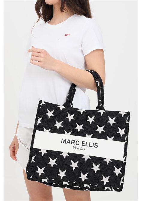 Black shopper with star embroidery. Marc ellis MARC ELLIS | Bag | BUBY-STARSNERO/BIANCO