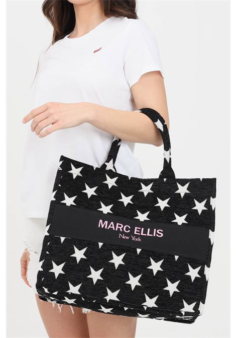 Black shopper with star embroidery. Marc ellis MARC ELLIS | Bag | BUBY-STARSNERO/FUXIA