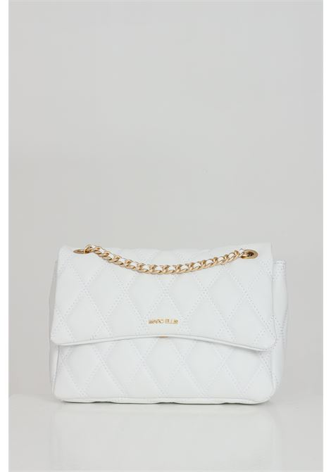 White bag with shoulder strap and soft and elegant details. Laminated and quilted diamond effect, central closure with magnetic button. Gold logo on the front. Marc ellis MARC ELLIS | Bag | DESDEMONA-LBIANCO