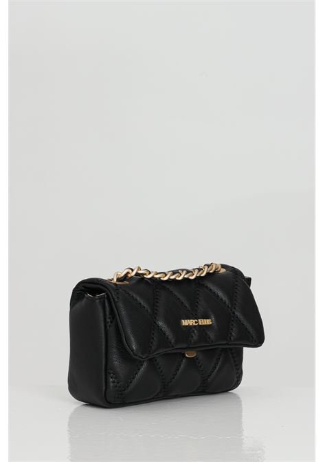 Black bag with shoulder strap. Laminated and quilted effect, central closure with magnetic button and metal logo on the front. Marc ellis MARC ELLIS | Bag | DESDEMONA-SNERO