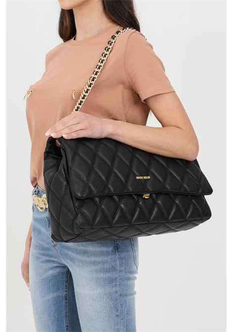 Black bag with chain shoulder strap, soft and elegant details. Laminate and quilted effect, central closure with magnet button. Metal logo on the front. Marc ellis MARC ELLIS | Bag | DESDEMONA-XLNERO