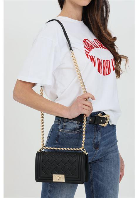 Flat Braid S Bag with gold shoulder strap  MARC ELLIS | Bag | FLAT-BRAID-SNERO-ORO